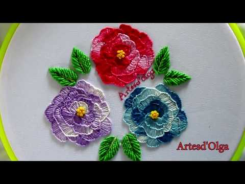 Blanket Stitch Roses  Rosas en Puntada Feston  Hand Embroidery Tutorial by ArtesdOlga