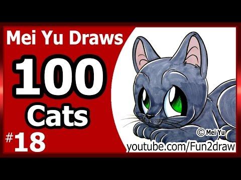100 Drawings CHALLENGE - Mei Yu Draws 100 Cats #18 - Russian Blue Kitten