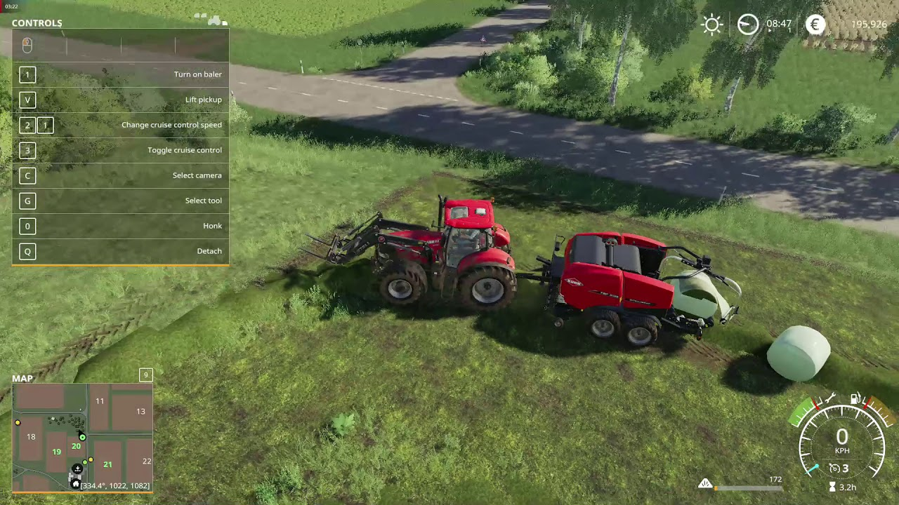 Farming Simulator 19 How to plant Grass and make round silage bale Create  round bale for silage