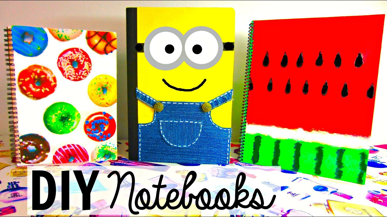 Diy notebooks for back to school diy school supplies for Back to school notebook decoration ideas