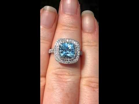 Precision Cut Aquamarine Engagement Ring in White Gold Milgrain Bezel Diamond Legacy