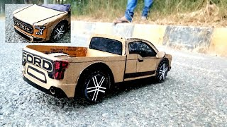 How to make a Car ( FORD TRUCK F150) AMAZING DIY RC TRUCK, HOW TO MAKE A CARDBOARD MINI TRUCK