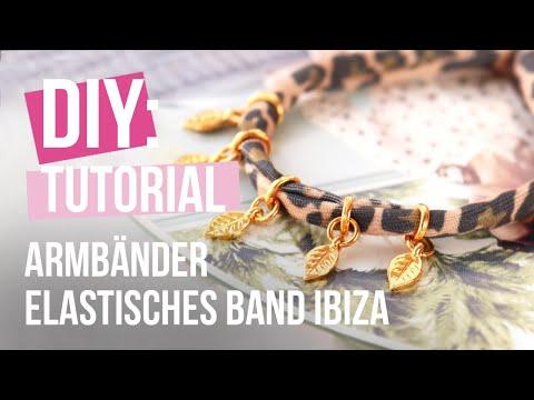 DIY tutorial - Schmuckherstellung mit gestepptem Elastikband Leopard ♡ DIY