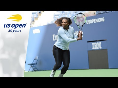Serena Williams practices at the 2018 US Open