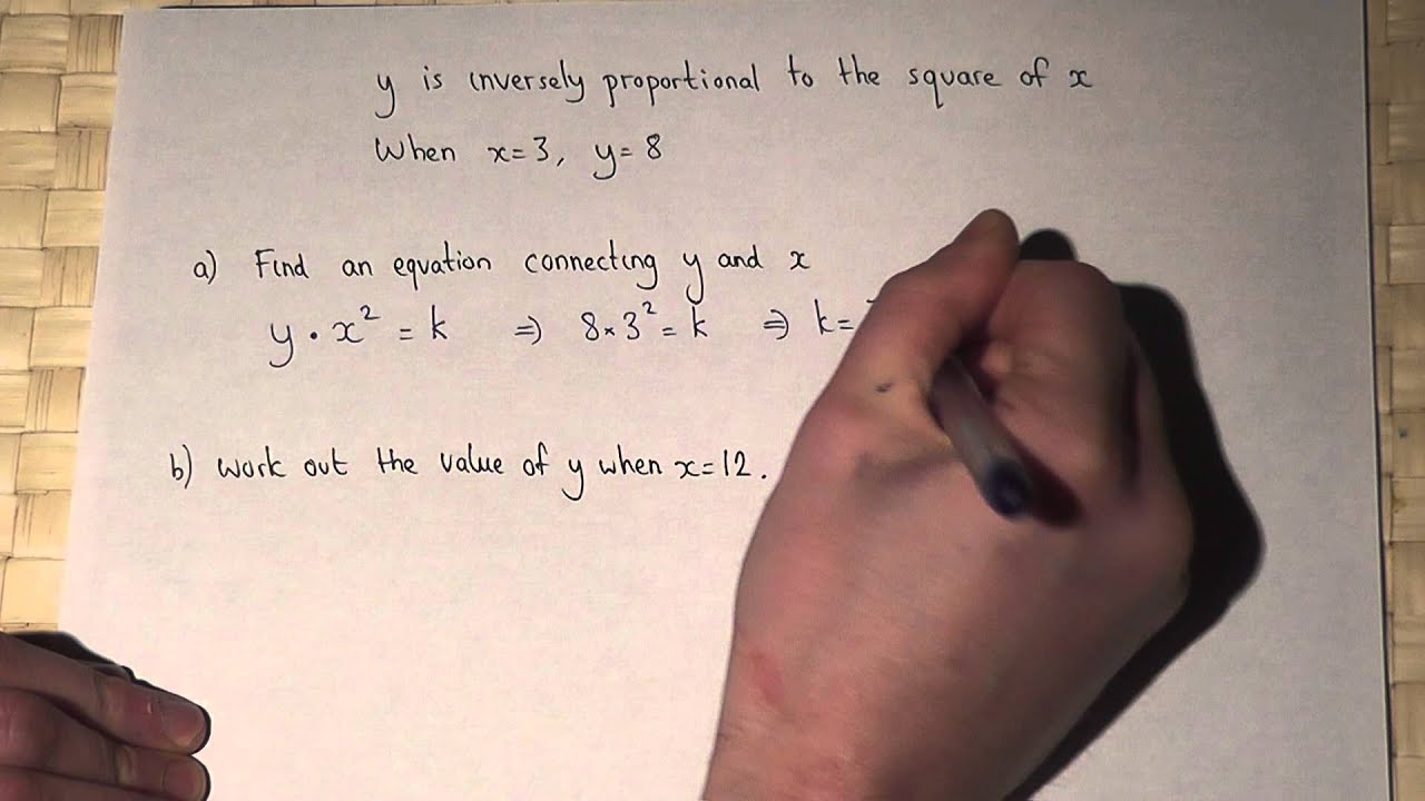 Inverse Proportion Y Is Inversely Proportional To The Square Of X