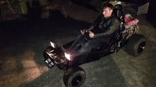 650cc 73hp yamaha motorcycle engine swap gokart first test drive.  This thing is mental!