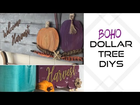 Dollar Tree FALL DIYS || BOHO Farmhouse  || Pumpkin Signs