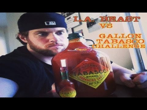 L.A. BEAST DRINKS A GALLON OF TABASCO SAUCE (vomit alert)