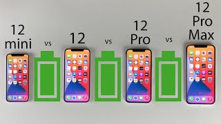 iPhone 12 Pro Max vs 12 Pro vs 12 vs 12 Mini Battery Life DRAIN Test