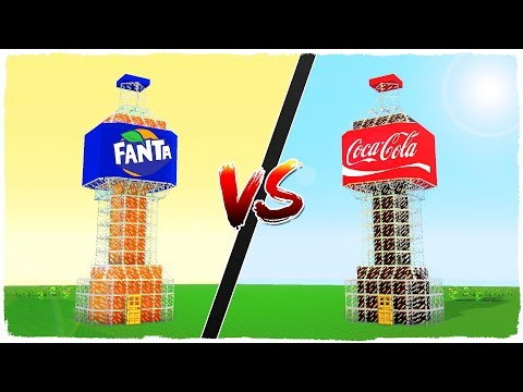 Casa de FANTA vs casa de COCA COLA - MINECRAFT