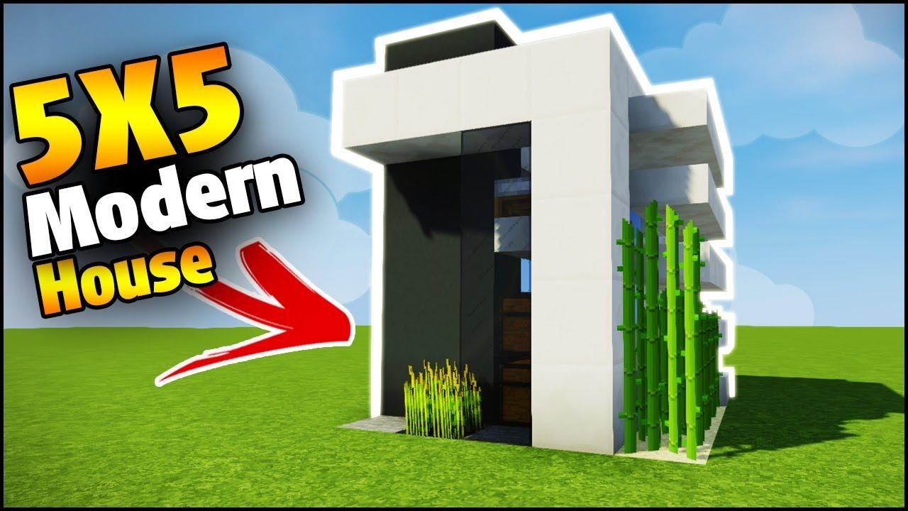 Minecraft X Modern Starter House Tutorial How To Build A - Minecraft modern house 5x5