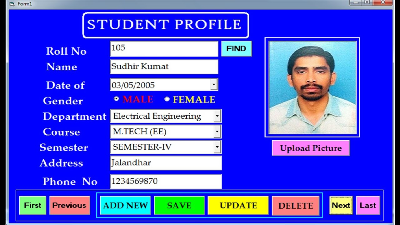 Create Save Update Delete And Search Student Profile Using