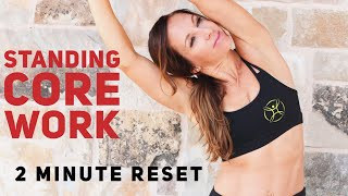 2 min To Toned Abs! Standing work- do anywhere. Boost Fat Burning and Energy Level, refresh, stretch