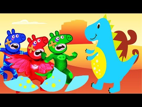 FIVE LITTLE PEPPA PIG PJ MASKS JUMPING ON THE SQUISHY DINOSAUR ¦ NURSERY RHYMES LYRICS AND MORE