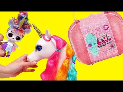 Unicorn LOL Bigger Surprise ! Toys and Dolls Pretend Play for Kids | SWTAD
