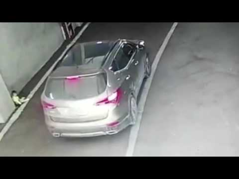 Chilling CCTV shows mum dumping baby in car park