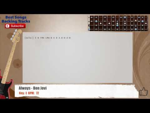 Always - Bon Jovi Bass Backing Track with chords and lyrics