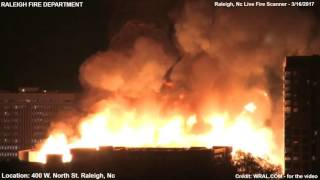 MAJOR STRUCTURE FIRE - DOWNTOWN RALEIGH, NC - FIRE/EMS SCANNER & VIDEO