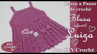 Blusa de crochê infantil Luiza (6 a 8 anos) por JNY Crochê