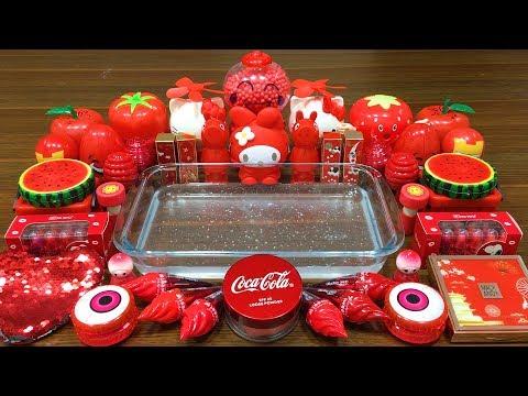 Special Series #60 RED | Mixing Random Things into Clear Slime | Misa Slime Satisfying Slime Videos