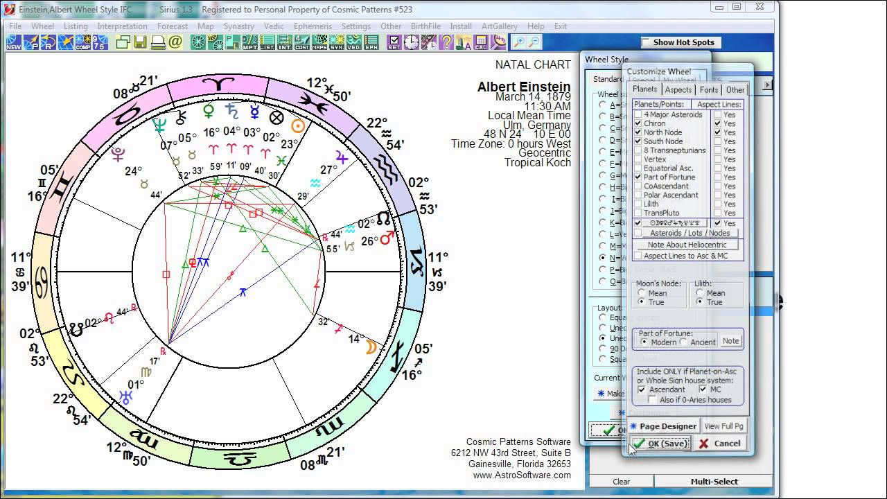 Sirius Astrology Software Selecting Planetary Nodes