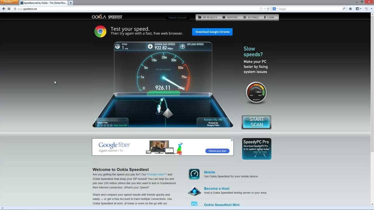 Google Fiber - Speed Test - YouTube