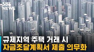 규제지역 주택 거래 시 '자금조달계획서' 제출 의무화 / SBS