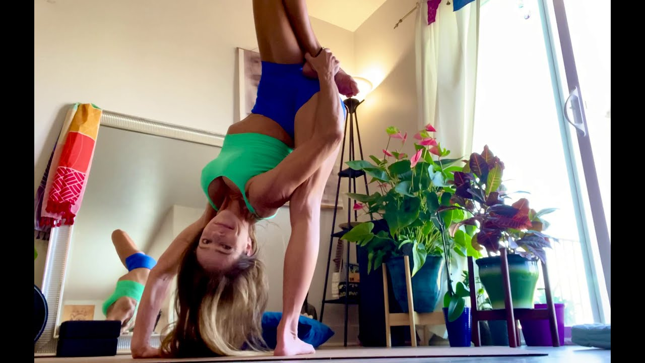 Advanced Yoga Flow With Front Bending, Standing Splits, Leg Behind Head Poses