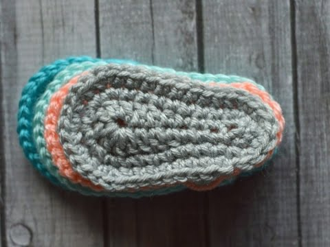 Free Printable Crochet Patterns For Baby Sandals : Crochet Bootie Sole - YouTube