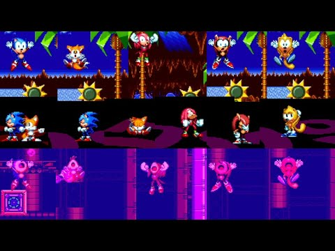 Sonic Mania Plus - All Characters Deaths, Game Over Screens, Continue Screens & Drowning |