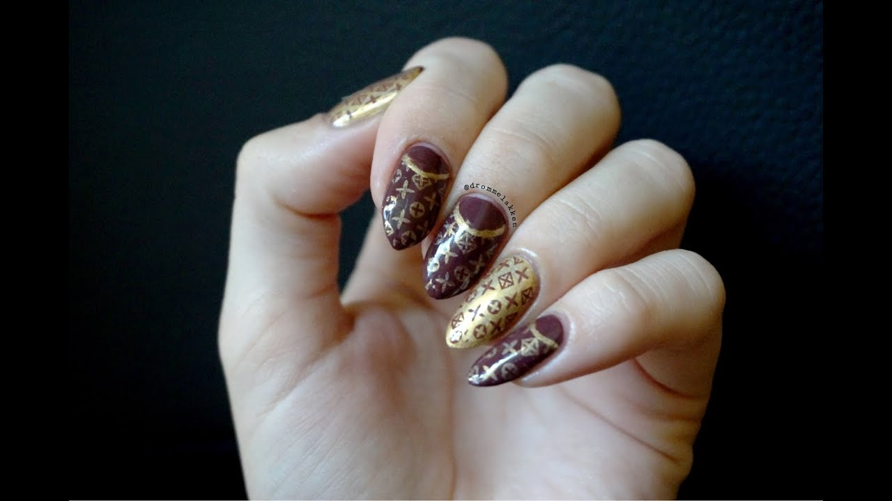 Louis Vuitton inspired Manicure nailart - YouTube