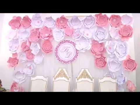 свадебный стол оформление гелиевые большие бумажные цветы павлодар