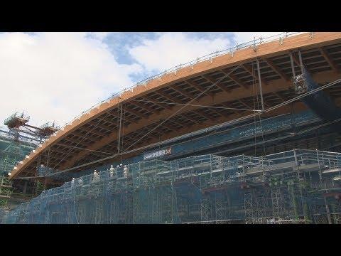 世界最大規模の木製屋根 有明体操競技場、現場公開