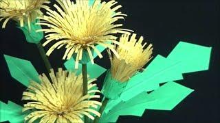 (ペーパーフラワー)コピー用紙でタンポポの花の作り方【DIY】(Paper Flower) How to make a dandelion flower with copy paper