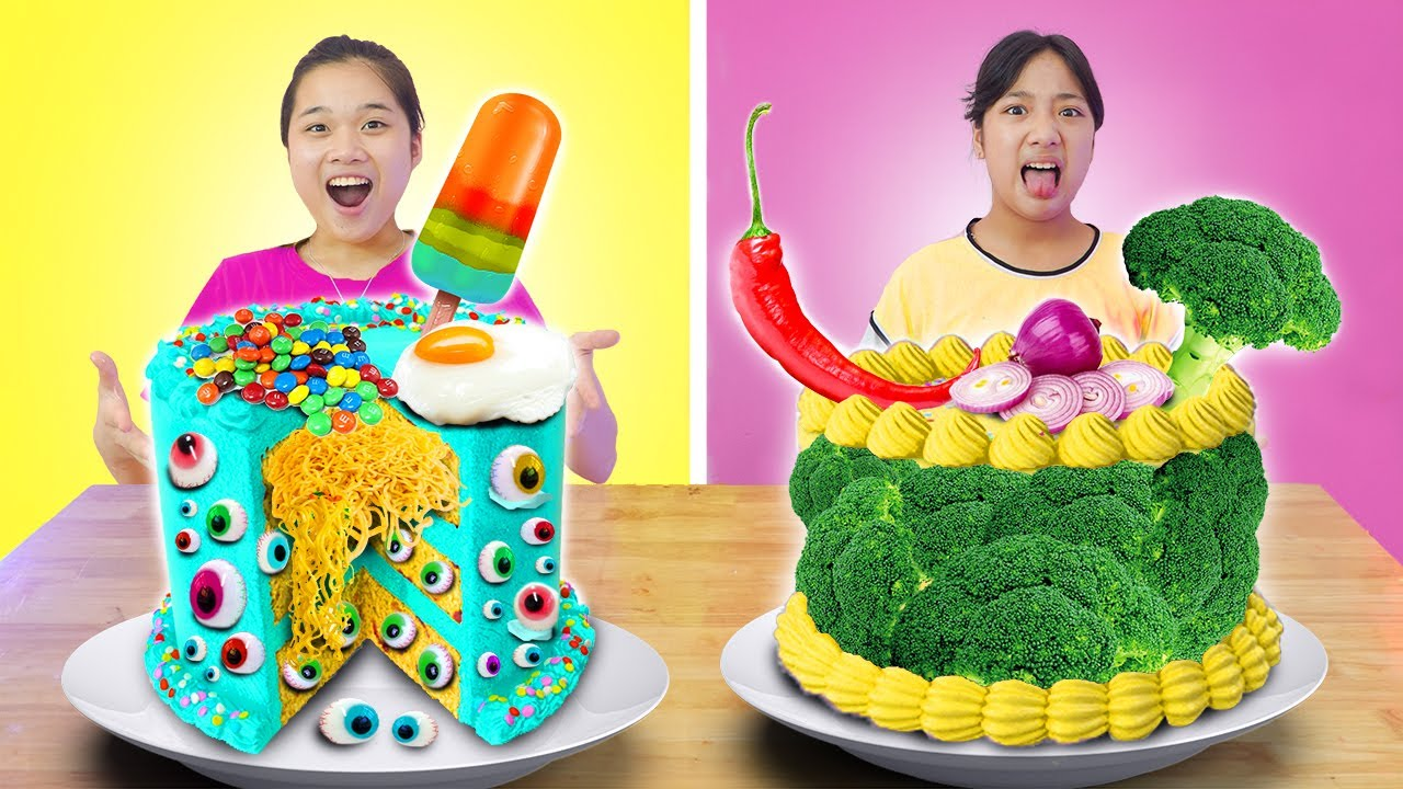 Vòng Quay Đồ Ăn ❤ Hai Chiếc Bánh Sinh Nhật Kỳ Lạ ❤ Trang Vlog