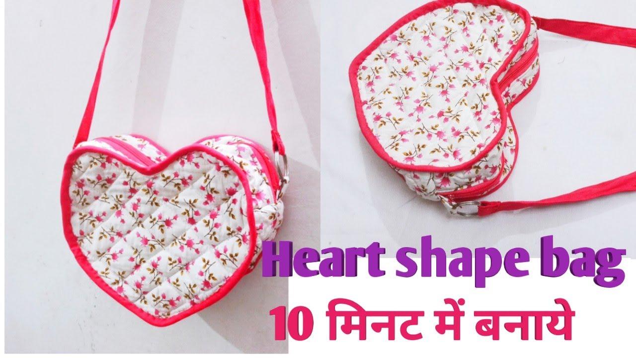 Beautiful Heart shaped sling bag/Zipper handbag/Handbag cutting and stitching/Shoulder bag/