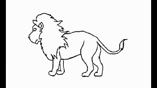 """How to draw """"African lion full body"""" pencil drawing step by step"""
