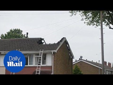 Lightning bolt destroys roof of house in Walsall during storm - Daily Mail