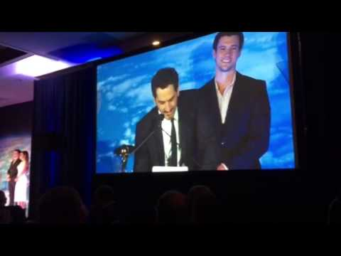 Aaron Abrams Accepts Laurence Fishburne's Saturn Award