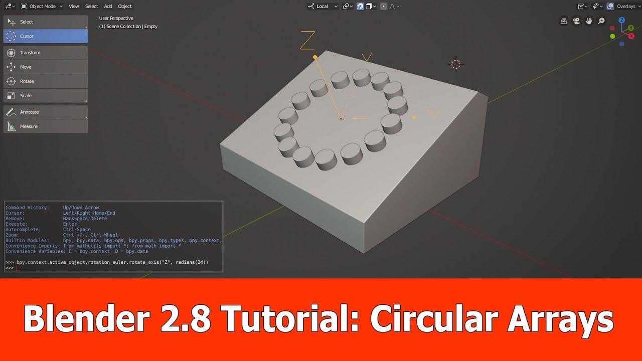 Blender 2.8 Tutorial : Circular Arrays - YouTube