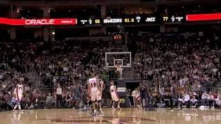 Devean George hits a long 3 point buzzer beater jumper shot vs Utah Jazz