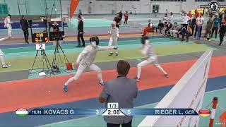 2018 1234 T32 02 M F Individual Halle GER European Cadet Circuit RED RIEGER GER vs KOVACS HUN