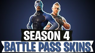 SEASON 4 ALL SKINS NEW IN BATTLE PASS ( FORTNITE BATTLE ROYALE Anglais