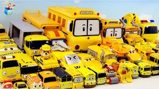 Yellow Color disney cars Tayo Bus Vehicle Play toys funny video for kids
