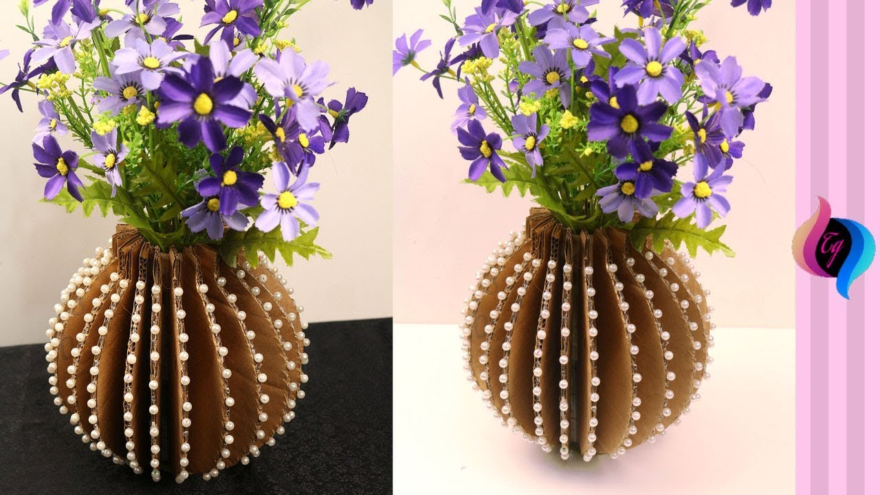 DIY - How to make flower vase with cardboard - Home ...