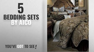 Top 10 Aico Bedding Sets [2018]: Michael Amini Portofino 13 Piece Comforter, King, Brown