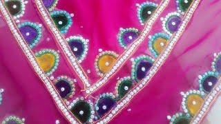 Beautiful Kundan work apply on dupatta at home!! Saree design more collection// day Kundan work