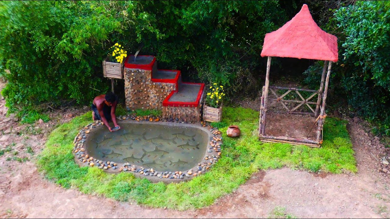 Build a beautiful waterfall garden for the sea fish