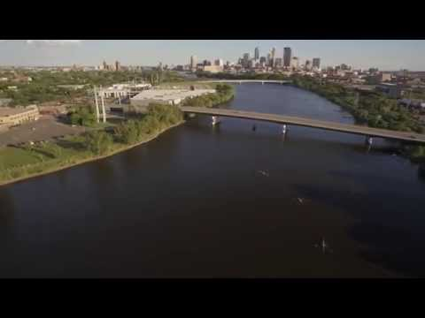 Aerial footage of the Mississippi River Boat Ballet