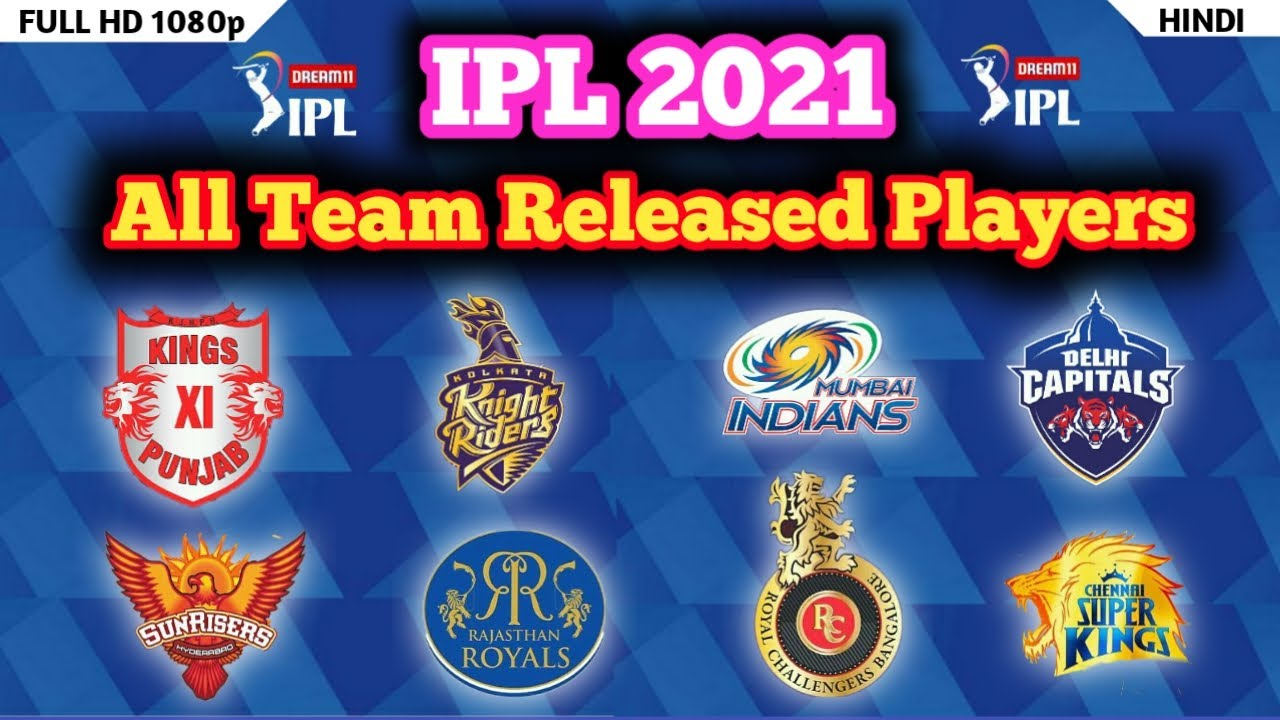 Download IPL 2021 - All Team Released Players List | CSK ,RCB, KKR, MI, DC, KXIP, RR, SRH, | ipl auction 2021